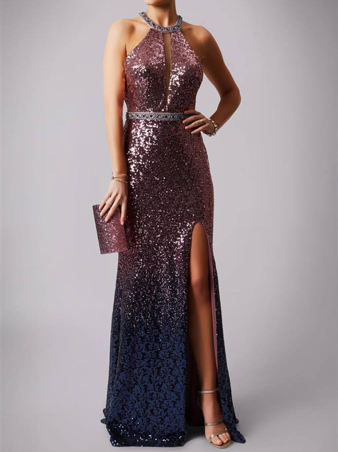 2018 Sheath/Column Prom Dresses Long Cheap Sequins Modest Prom Dress Evening Dresses AMY306