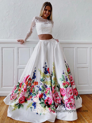 Two Pieces Long Sleeve Prom Dresses Printed Floral Open Back Long Prom Dress Evening Gowns AMY3070