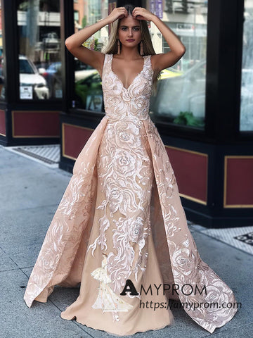 Trumpet/Mermaid Straps Lace Prom Dresses Unique Long Prom Dress Evening Gowns AMY3071
