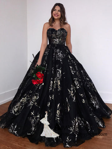 Black Sweetheart Long Prom Dresses with Pocket Backless Elegant Prom Dress Ball Gowns Printed Evening Gowns AMY3077
