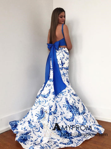 Two Pieces Mermaid Long Prom Dresses Lace Blue Prom Dress Printed Floral Evening Gowns AMY3079