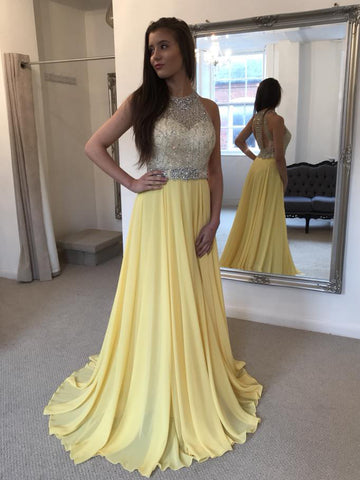2018 A-line Prom Dresses Long Cheap Beading Chiffon Daffodil Prom Dress Evening Dresses AMY307