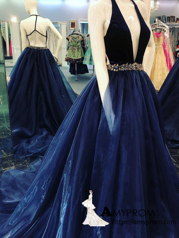Chic A-line Deep V neck Long Prom Dresses Dark Navy Beaded Backless Prom Gowns Evening Dress AMY3081