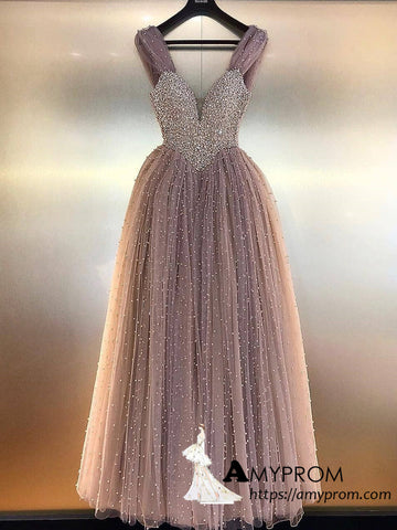 Chic A-line Dusty Pink Long Prom Dresses Beaded Backless Tulle Beautiful Prom Gowns Evening Dress AMY3082