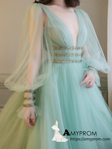 Chic A-line V neck Long Sleeve Prom Dresses Mint Green Beautiful Prom Gowns With Belt Evening Dress AMY3083