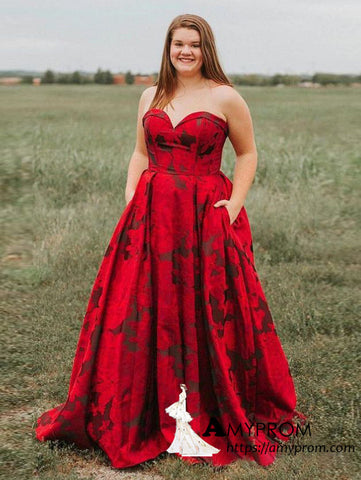 Sweetheart Red Long Prom Dresses with Pocket Plus Size Elegant Prom Dress Evening Gowns AMY3085