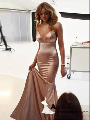 Spaghetti Straps Sexy Mermaid Long Prom Dresses Elegant Prom Dress Evening Gowns AMY3087