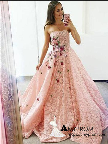A-line Strapless 3D Lace Boho Long Prom Dresses Beautiful Pink Prom Dress Evening Gowns AMY3089