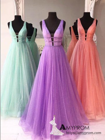 Chic A-line V neck Sparkly Long Prom Dresses Elegant Prom Dress Evening Gowns AMY3093