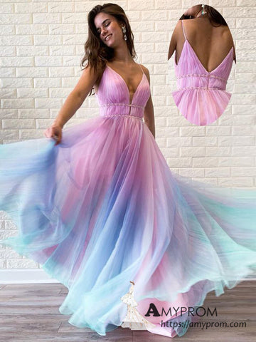 Chic A-line Spaghetti Straps Ombre Long Prom Dresses Beautiful Prom Dress Evening Gowns AMY3094
