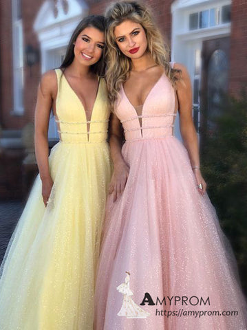 Chic A-line V neck Sparkly Long Prom Dresses Beautiful Rhinestone Prom Dress Evening Gowns AMY3095