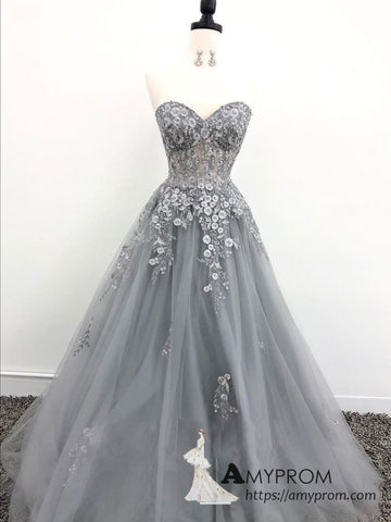 Chic A-line Sweetheart Silver Lace Long Prom Dresses Beautiful Cheap Prom Dress Evening Gowns AMY3097