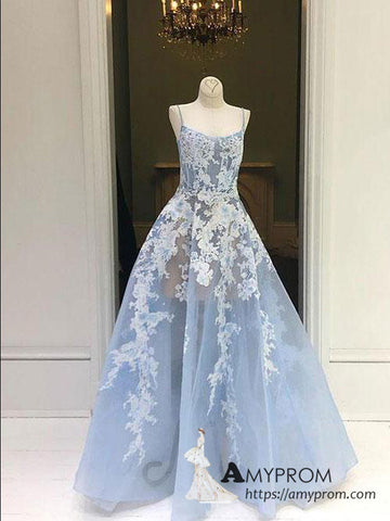 Chic A-line Spaghetti Straps Blue Lace Long Prom Dresses Beautiful Cheap Prom Dress Evening Gowns AMY3098