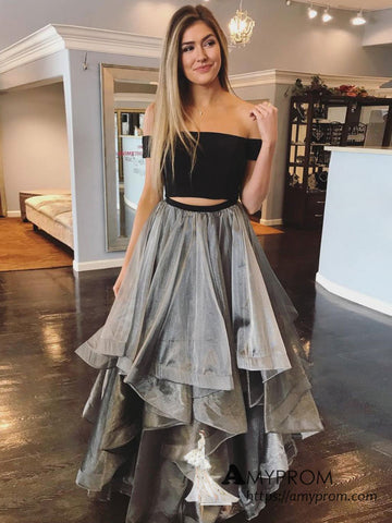 Chic Two Pieces A-line Off-the-shoulder Black Long Prom Dresses Beautiful Gray Prom Dress Evening Gowns AMY3099