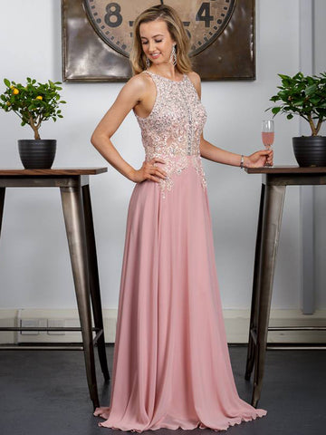 2018 A-line Prom Dresses Long Pink Beading Modest Chiffon Prom Dress Evening Dresses AMY309