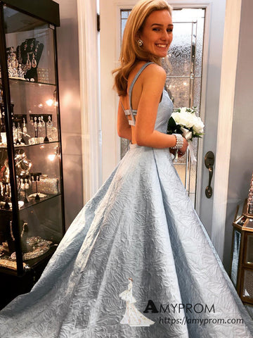 Chic A-line Straps Black Sky Blue Long Prom Dresses Beautiful Printing Prom Dress Evening Gowns AMY3100
