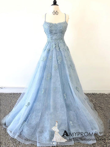 Chic A-line Spaghetti Straps Blue Lace Long Prom Dresses Beautiful Prom Dress Evening Gowns AMY3101