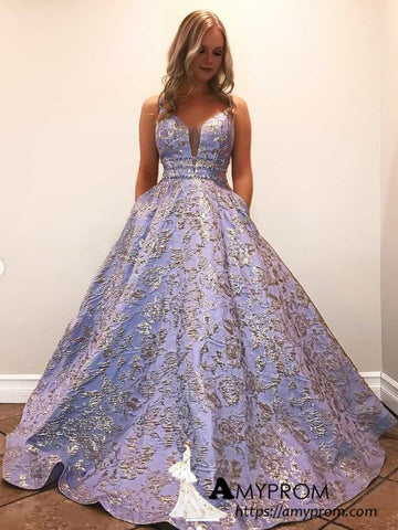 Chic A-line Spaghetti Straps Sparkly Beaded Long Prom Dresses Quinceanera Prom Dress Evening Gowns AMY3105