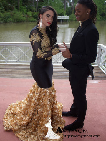 Chic Trumpet/Mermaid Scoop Long Sleeve African Prom Dresses  Gorgeous Black Prom Dress Evening Gowns AMY3107