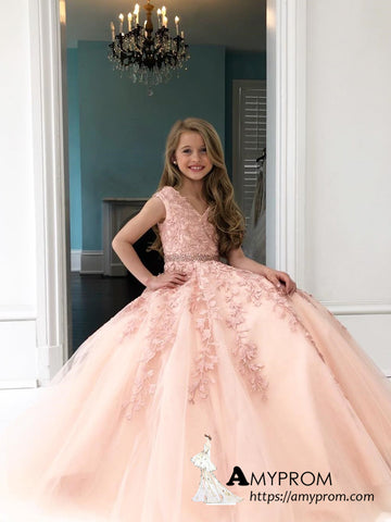 Chic A-line V neck Applique Long Prom Dresses For Child Tulle Elegant Prom Dress Evening Gowns AMY3113