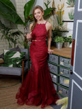 2018 Two Pieces Prom Dresses Mermaid Beading Burgundy Tulle Long Prom Dress Evening Dresses AMY311