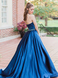 A-line Halter Blue Long Prom Dresses Beaded Unique Formal Dress Evening Gowns AMY3120