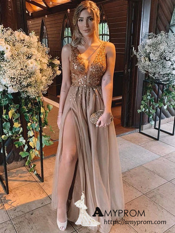 V neck Beaded Prom Dress A-line Silt Long Formal Gowns Dresses Elegant Evening Gowns AMY3121