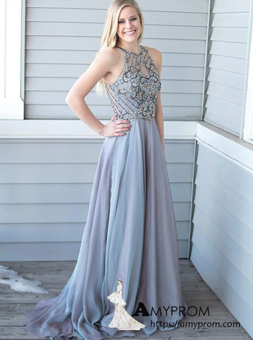 A-line Beaded Long Prom Dress Scoop Silver Long Formal Gowns Elegant Evening Gowns AMY3122