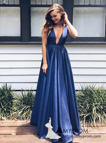 A-line Deep V neck Royal Blue Long Prom Dress Cheap Simple Formal Gowns Modest Evening Dress AMY3124