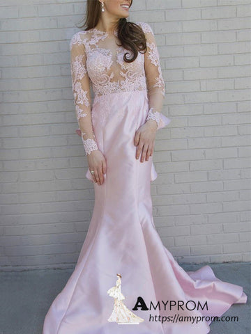 Trumpet/Mermaid Pearl Pink Lace Prom Dress Long Sleeve Open Back Beautiful Formal Gowns Modest Evening Dress AMY3125