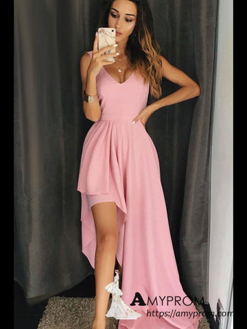 a-line-pink-v-neck-prom-dress-high-low-formal-gowns-elegant-evening-gowns-amy3126