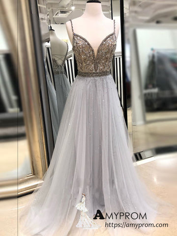 A-line Spaghetti Straps Silver Beaded Prom Dress Sparkly Beautiful Formal Dress Modest Evening Dress AMY3129