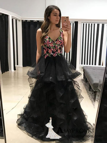 a-line-v-neck-black-long-prom-dress-with-floral-lace-long-formal-gowns-elegant-evening-dress-amy3137