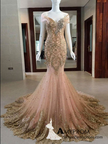 Mermaid Blushing Pink and Gold  Long Prom Dress Sparkly Gorgeous Formal Evening Gowns AMY3139