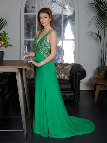 2018 Sheath/Column Prom Dresses Long Green Chiffon Long Prom Dress Evening Dresses AMY313