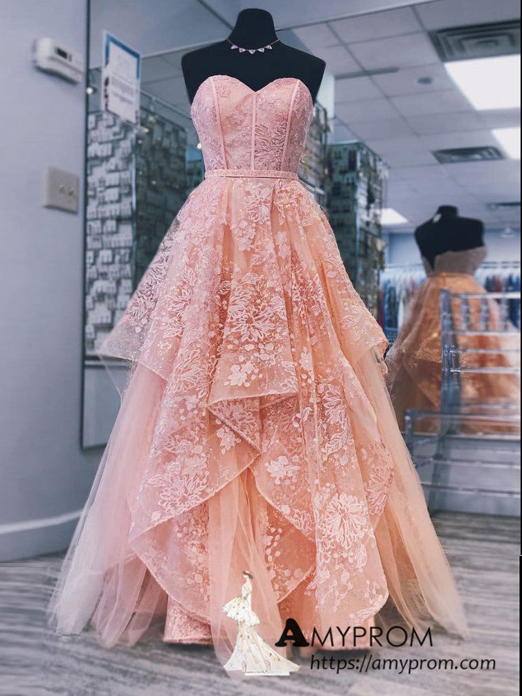 top-rated genuine watch really comfortable A-line Sweetheart Peach Prom Dresses Gorgeous Long Prom Dress Evening Gowns  AMY3149
