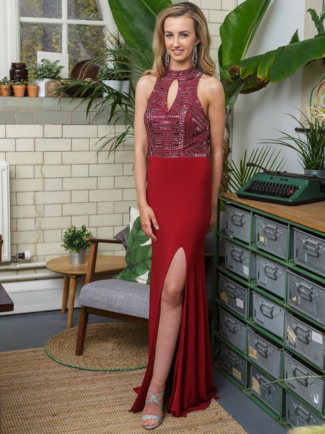 2018 Burgundy Prom Dresses Long High Neck Chiffon Long Prom Dress Evening Dresses AMY314