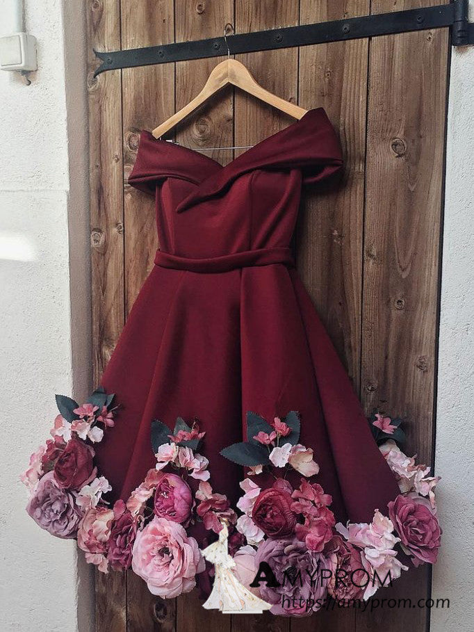 A-Line Off-the-shoulder Burgundy Juniors Homecoming Dress Floral Short/Mini Prom Dresses AMY3150