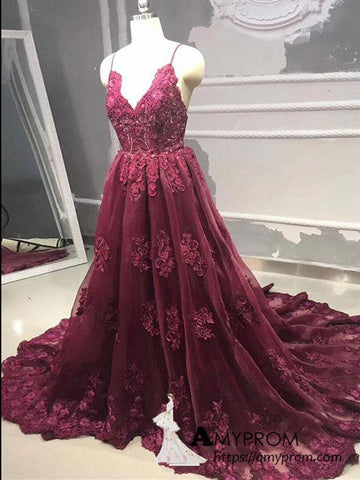 Chic A-line Spaghetti Straps Burgundy Lace Long Prom Dresses Elegant Formal Gowns Dress Evening Gowns AMY3153