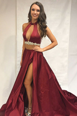 Two Pieces Burgundy High Neck Long Prom Dress With Slit Sexy Evening Dress AMY3159