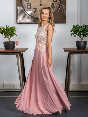 2018 A-line Prom Dresses Long Pink Chiffon Beading Prom Dress Evening Dresses AMY315