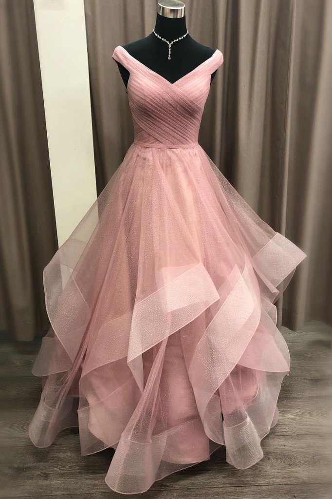A-line Off-the-shoulder Dusty Pink Long Prom Dress Tulle Formal Gowns Evening Dress AMY3162