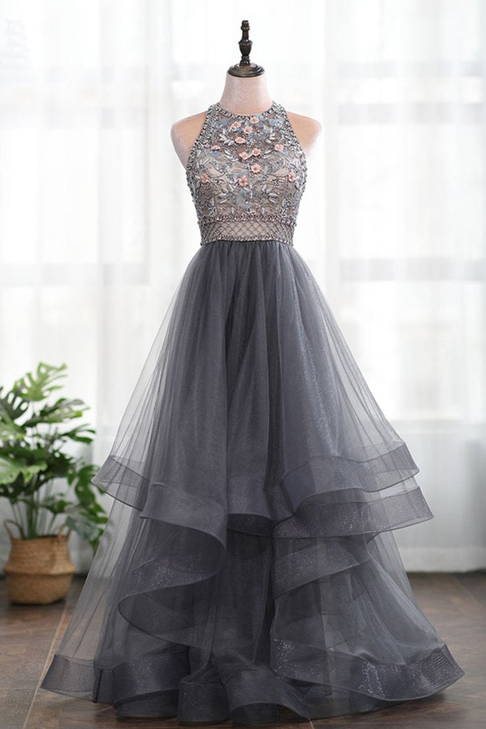 f71fff98d A-line 3D Flowers Backless Grey Beading High Neck Tulle Long Prom Dress