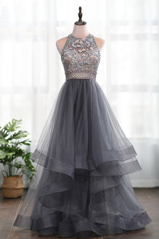 A-line 3D Flowers Backless Grey Beading High Neck Tulle Long Prom Dress, Evening Dress AMY3163