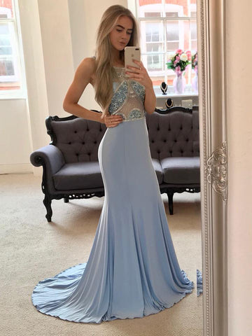 2018 Trumpet/Mermaid Prom Dresses Long Chiffon Blue Beading Prom Dress Evening Dresses AMY316