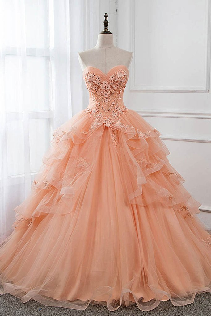 Unique Sweetheart Neck Tulle Lace Long Prom Dress Ball Gowns Formal Dress AMY3175