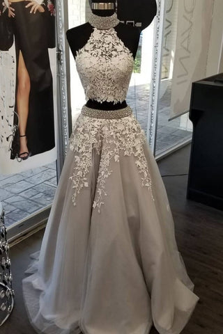 Two Pieces High Neck Applique Long Prom Dress Modest Formal Gowns Evening Dresses AMY3180