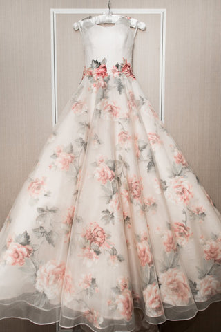 Chic A-line White Print Floral Prom Dresses Quinceanera Formal Dresses Wedding Gowns AMY3203