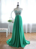 A-line Sweetheart Long Prom Dress Rhinestone Formal Dresses Unique Evening Gowns AMY3217