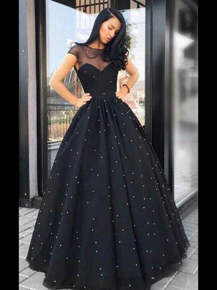 A-line Scoop Black Long Prom Dress Beaded Formal Dresses Unique Evening Gowns AMY3218